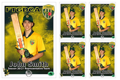 FTGDCA Cricket Player Portrait – 5 in 1 Pack