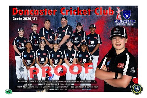 Doncaster Cricket Club Team Photo With Individual Player Portrait