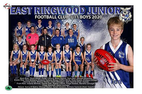 East Ringwood Football Club Team Photo With Individual Player Portrait