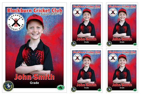 Blackburn Cricket Player Portrait – 5 in 1 Pack