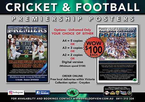 Cricket & Football Premiership Posters