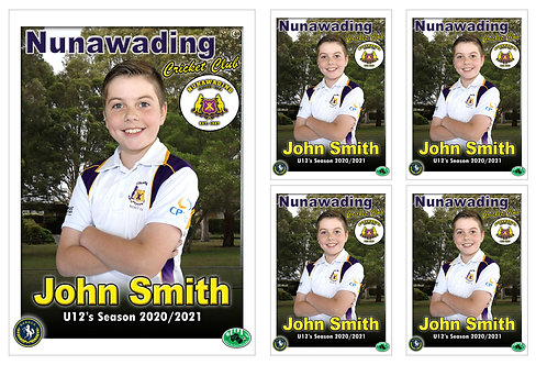 Nunawading Cricket Player Portrait – 5 in 1 Pack