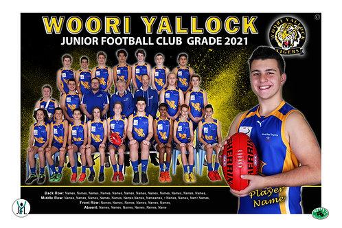 Woori Yallock Football Club Team Photo With Individual Player Portrait