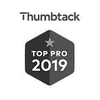 Thumbtack top pro 2019 logo batch in black and white