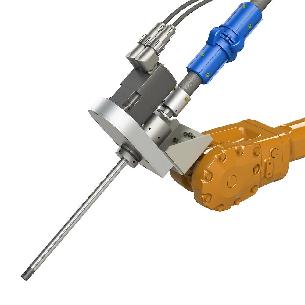 Cabezal giratorio para equipos de shot peening