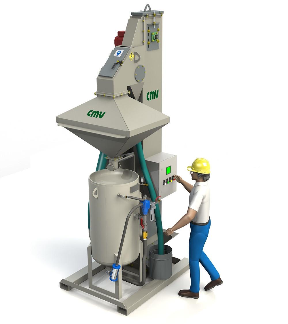 máquina recuperadora de abrasivos portátil