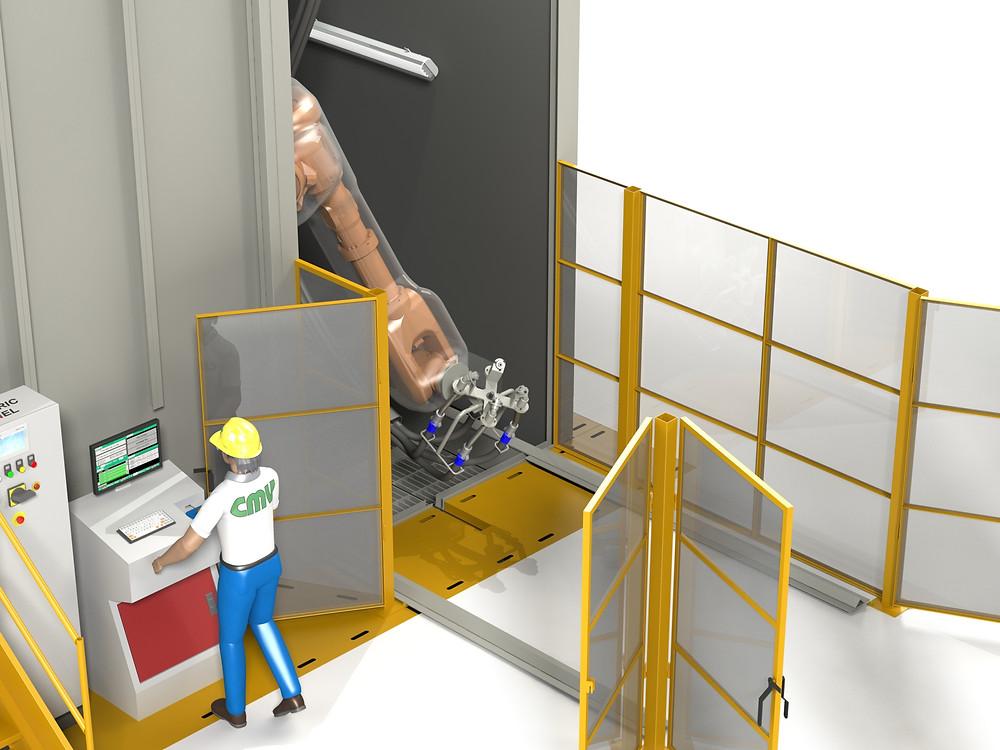 Homem utilizando máquina automática de shot peening com robô
