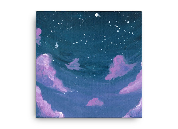 Pink and purple clouds stretched canvas print