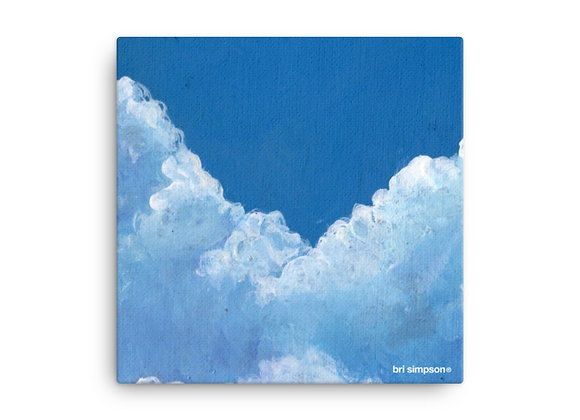 Blue skies stretched canvas print