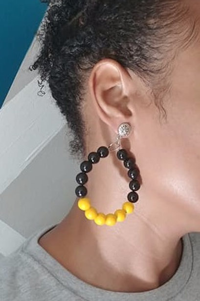 Black and Yellow Beaded Hoop Earrings