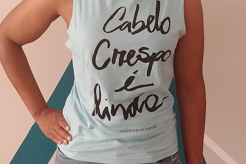 "Light Blue ""Cabelo Crespo é Lindo (Curly Hair Is Beautiful)"" Tee"