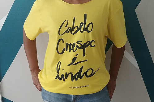 "Yellow ""Cabelo Crespo é Lindo (Curly Hair Is Beautiful)"" Tee"