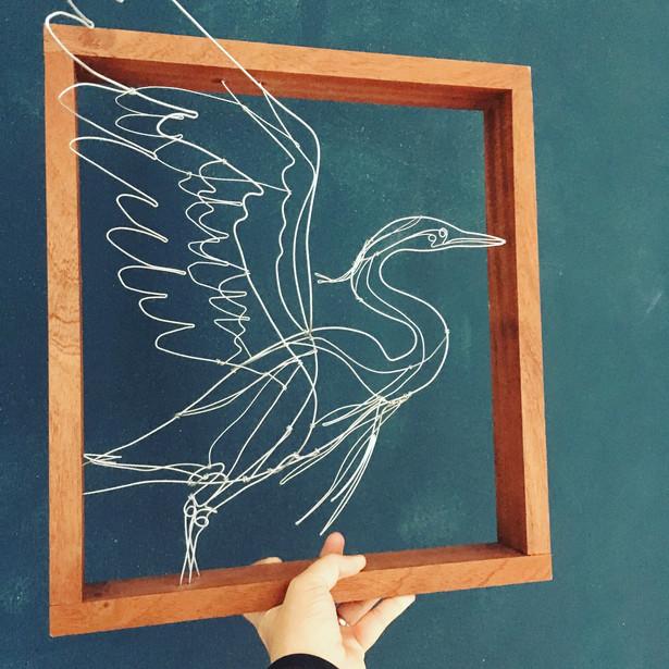 faux taxidermy heron