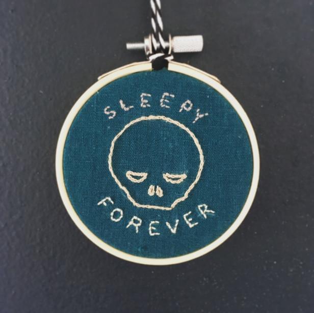 Sleep Forever Skull Embroidery