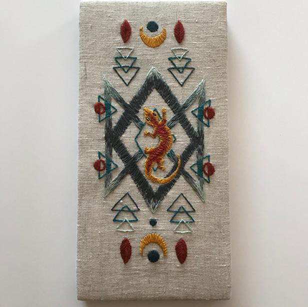 Southwestern Lizard Embroidery
