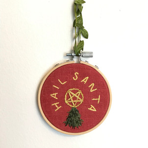 Hail Santa Snarky Embroidered Ornament