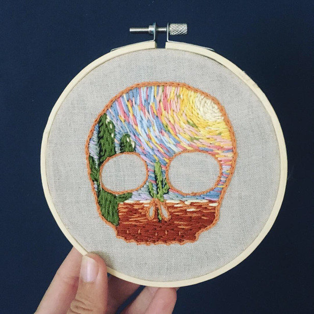 Cactus Skull Landscape Embroidery