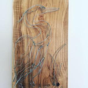 wire sculpture blue heron