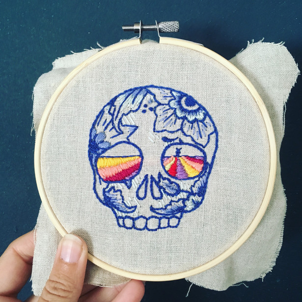 Delft Skull Floral Embroidery