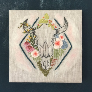 Floral Bull Skull Embroidery for Flat Ou