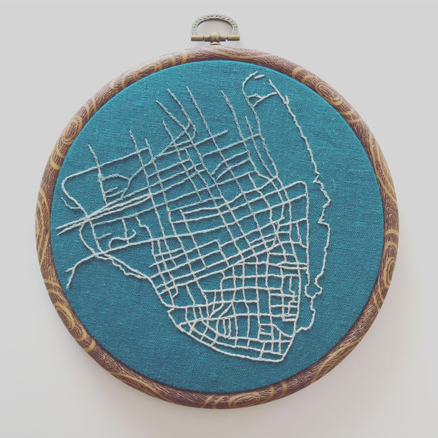 Hand Embroidered Map of Charleston, SC