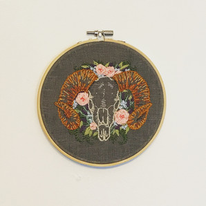 Floral Ram Skull Embroidery