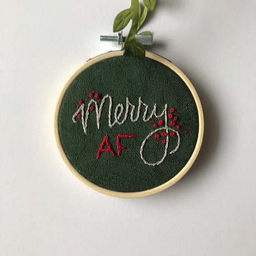 Merry AF Holiday Ornament