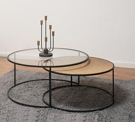 סט שולחנות סלון שולחן זכוכית שולחן עץ עגול סלון לרכישה אונליין