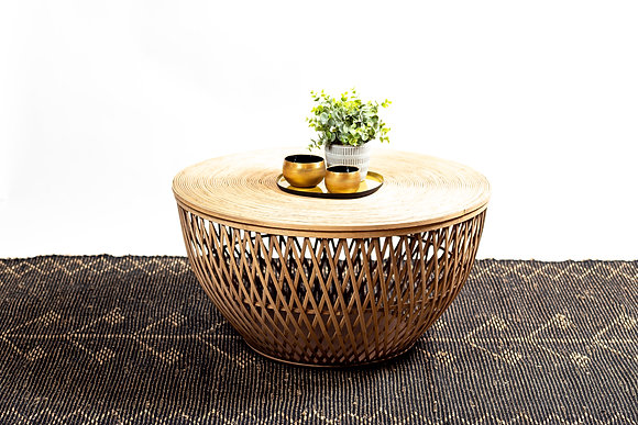 שולחן סלון עץ עגול שולחן עם אחסון אונליין