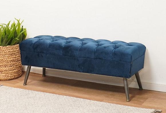 , ספסל מרופד לסלון, ספסל קטיפה לחדר שינה, ספסל רחב, ספסל קטיפה, ספסל כחול,
