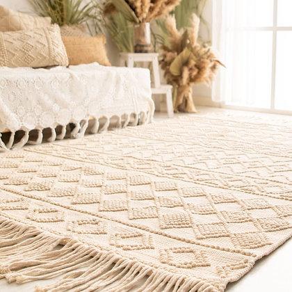 שטיח שמנת, שטיח קטן לחדר, שטיח מקרמה, שטיח בוהו שיק שטיח סרוג, שטיח פרקטי לחדר