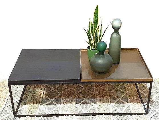 שולחן חצי שחור חצי ברונזה שולחן סלון מיוחד שולחן סלון שחור וזהב שולחן סלון אונליין