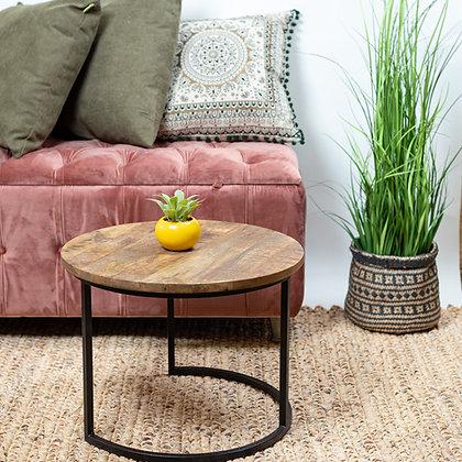 שולחן עץ רגל מעוגלת