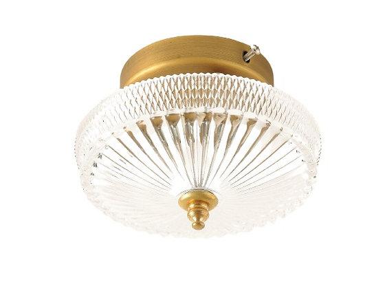מנורה צמוד תקרה- מנורה צמודה לתקרה- מנורה זכוכית עם עיטורים- מנורה זכוית - זכוכית וזהב