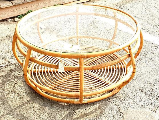 שולחן במבוק עגול עם פלטת זכוכית לרכישה אונליין