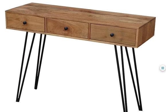 קונסולה-מגירות-מעץ-ממתכת- קונסולת עץ עם מגירות- קונסולה שמתאימה לשולחן