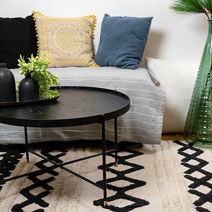 שולחן סלון עגול עץ שחור שולחן איכותי לסלון מחירים טובים אונליין