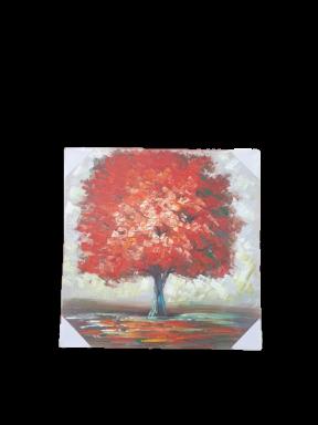 """תמונה 70 * 70 ס""""מ עץ אדום"""