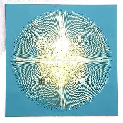 תמונה טורקיז עיגול פסי זהב