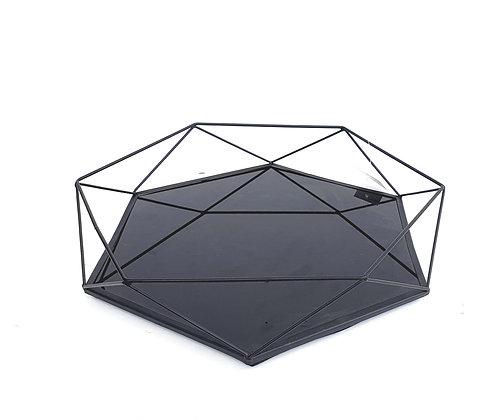 מגש לסלון מגש נוי מגש משושה שחור מגש לעיצוב השולחן לרכישה אונליין