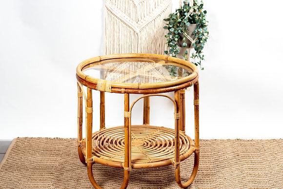 שולחן סלון עגול במבוק שילוב במבוק וזכוכית שולחן במבוק ריהוט הסלון אונליין