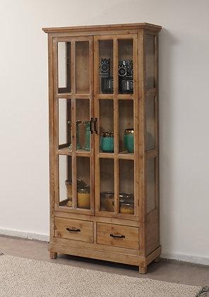 ויטרינה עץ טבעי ויטרינה עם חלונות זכוכית ויטרינה לרכישה אונליין