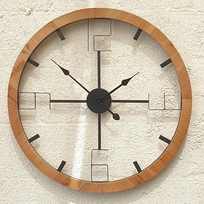 שעון צף עגול מסגרת עץ