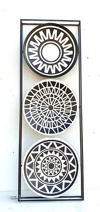 תמונת מתכת שחור לבן תמונת עיגולים בסגנון אפריקאי