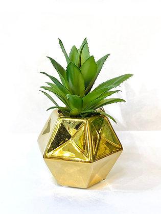 עציץ מלאכותי קטן עציץ זהב גיאומטרי קקסוט מלאכותי צמחים אונליין