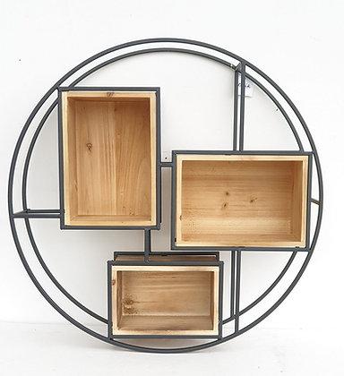 נישה מדפים סט מדפים עגול נישה עץ מתכת סט מדפים מעוצבים לסלון