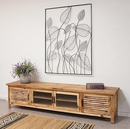 מזנון טלויזיה בצבע עץ טבעי עם דלתות זכוכית ודלתות תריס