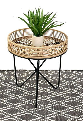 שולחן סלון עגול גבוהה שולחן עץ בשילוב מתכת לרכישה אונליין