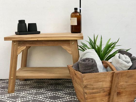 ספסל מעוצב לאמבטיה ספסל מעץ טיק ספסל עץ קטן  לרכישה אונליין