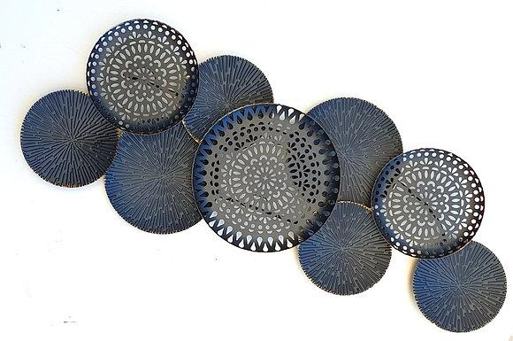 תמונה מתכת 9 עיגולים מושחר